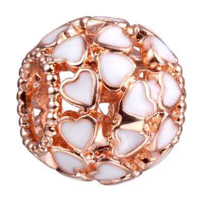 European Rose gold 1pcs heart charms Beads Fit 925 Necklace Bracelet Chain