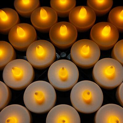 48 Flameless Battery Christmas LED Tea Lights Flickering Amber Tealight Candles