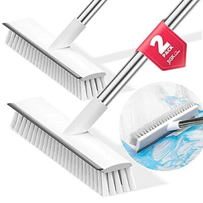 JIGA 2 Pack Floor Scrub Brush with Long Handle, Stiff Bristle Brush Scrubber