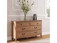 NEW* Cotswold Company Amelia Solid Oak, 3 Over 4 Chest of Drawers RRP £425. Bedroom, real wood