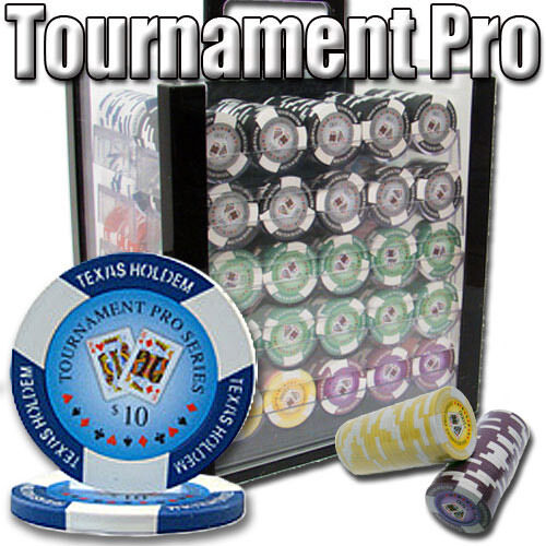 NEW 1000 Tournament Pro 11.5 Gram Clay Poker Chips Set Acrylic Case Pick Chips