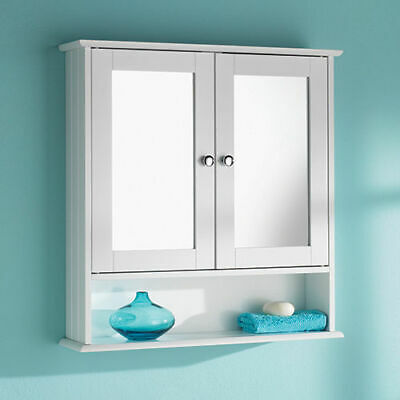 Double Door Mirrorr With Shelf Wooden Bathroom Cabinet