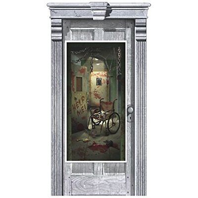 ASYLUM DOOR COVER Halloween Party Decorations Door BLOODY PSYCHO Scene Setter](Psycho Halloween Decorations)