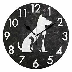 Chic Houses Cat Dog Clock Animal Black and White Bathroom Kitchen Wall 2031551