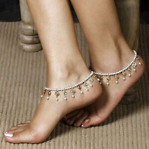 b04488b8a4c52e Women Boho Barefoot Sandal Pearl Anklet Crystal Tassel Ankle Bracelet Foot  Chain