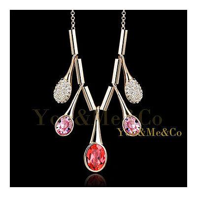 18k Rose Gold EP Brilliant & Oval Cut Garnet Sapphire Crystal covid 19 (Brilliant Cut Pink Sapphire Necklace coronavirus)