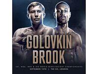 Golovkin vs Kell Brook, 10th September, O2 Arena, 1 ticket , £140