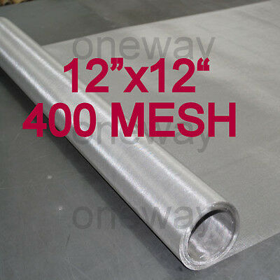 """WOVEN WIRE MESH STAINLESS STEEL 400 MESH 12""""X12"""" FILTRATION SS T316 FREE SHIP"""