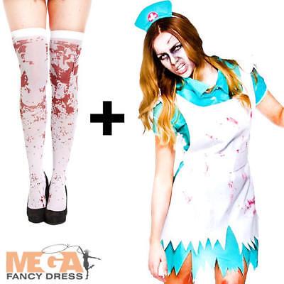 Bloodthirsty Zombie Nurse + Stockings Halloween Ladies Fancy Dress Adult Costume