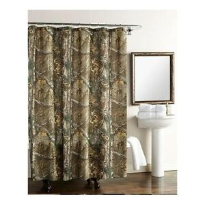 Bathroom Shower Curtain Camo Polyester Realtree Camouflage Hunting Cabin Rustic
