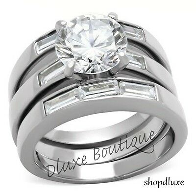 4.35 CT ROUND CUT CZ SILVER STAINLESS STEEL WEDDING RING SET WOMEN'S SIZE 5-10