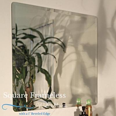 Square Frameless Beveled Edge Wall Mirror Bathroom Unframed,