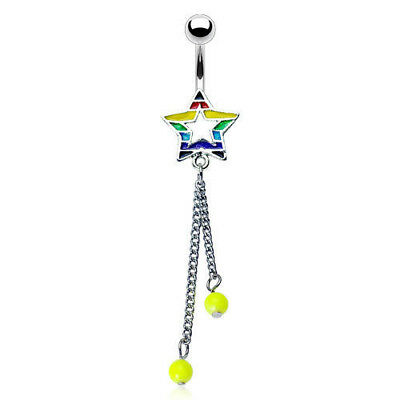 Gay Pride Rainbow Star and Double Bead Dangle Belly Ring Pierced Navel (w213) (Double Drop Belly Ring)