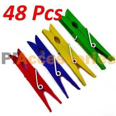 Cloth Pins (48 Pcs Plastic Clothespins Laundry Clothes Pins Large Spring Assorted Color)