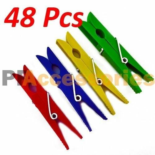 48 Pcs Plastic Clothespins Laundry Clothes Pins Large Spring Assorted Color NEW