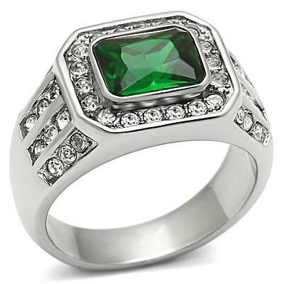 MEN'S 3.45 CT EMERALD CUT GREEN EMERALD CZ SILVER STAINLESS STEEL RING SIZE -