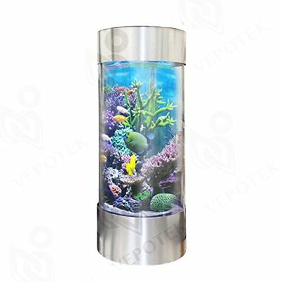 Full Acrylic 360 Cylinder Aquarium Tank w/ Stainless Steel Trim 70 Gallons
