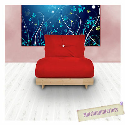 Red futon chairbed.