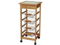 Robert Dyas Kitchen Trolley Tile-Topped with Solid Wood Frame