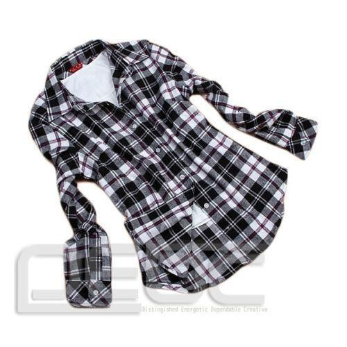 Black and white flannel shirt ebay for White and black flannel shirt womens