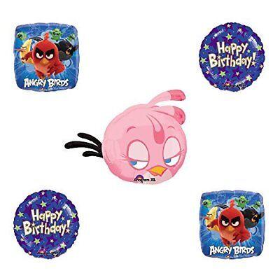 Angry Birds Pink Bird Birthday Balloon Bouquet Decoration supplies - Angry Bird Birthday Supplies