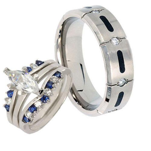 titanium wedding ring sets ebay
