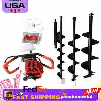 52cc Powered Engine Gas Post Fence Hole Digger Earth Auger W 468auger Bits