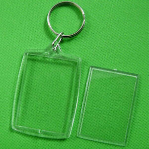 10X Keychain Key Rings Blank Clear Transparent Acrylic Picture Frames Lockets YJ
