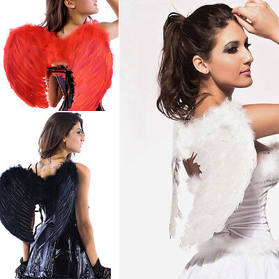 Halloween Fallen Angel Wings (Feather Wings Dark Fallen Angel Gothic Raven Halloween Fancy Dress Model)