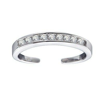 .925 Sterling Silver Channel-Set White CZ Toe Ring