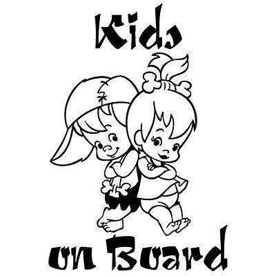 KIDS ON BOARD BABY BOY GIRL FLINTSTONES CAR WINDOW VINYL DECAL STICKER (BB-6) (Best Decal Kids)