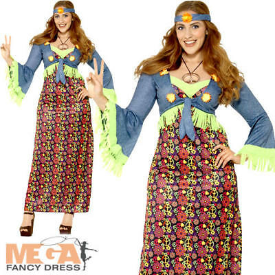 Hippie Ladies Fancy Dress 1970s 60s Hippy Peace Womens Adults Costume Plus Size - Plus Size Hippie Fancy Dress