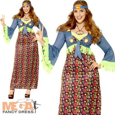 Hippie Ladies Fancy Dress 1970s 60s Hippy Peace - Hippie Fancy Dress Plus Size