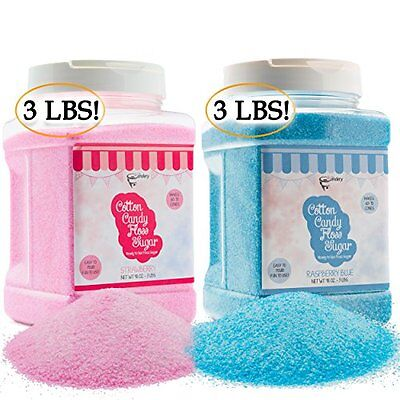 Candy Making Supplies Cotton Candy Floss Sugar 2-pack Raspberry Blue Plastic