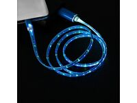 APPLE IPHONE & IPAD - BLUE LIGHT UP 1m CHARGE CABLE LIGHTNING LEAD