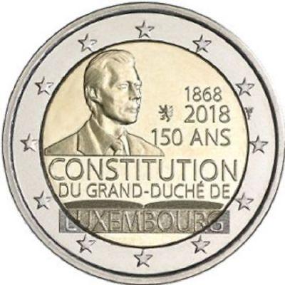 """2 Euro Gedenkmünze LUXEMBURG 2018 """" 150 Jahre Verfassung """" aus Rolle neu"""