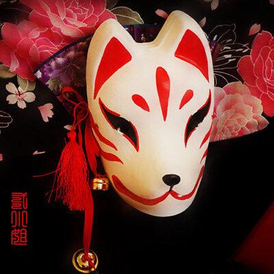 Full Face Hand-Painted Japanese Halloween Fox Mask Kitsune Cosplay Masquerade