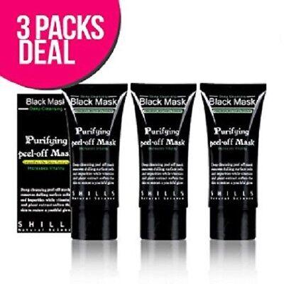 3x packs 50 ml Shills Deep Cleansing Black MASK peel-off Facial Clean Blackhead