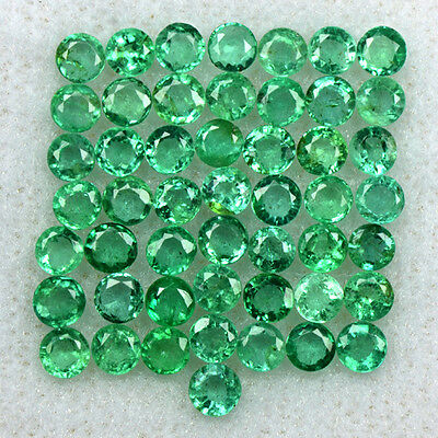 4.44 Cts Natural Top Green Emerald Lovely Round Cut Lot 50 Pcs Untreated Zambia