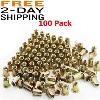 100 Pcs Steel Rivet Nut Rivnut Insert Nutsert 14-20 Threaded Zinc Plated Blind.