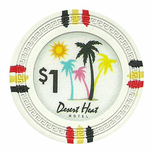 100 White $1 Desert Heat 13.5g Clay Poker Chips New - Buy 2, Get 1 Free