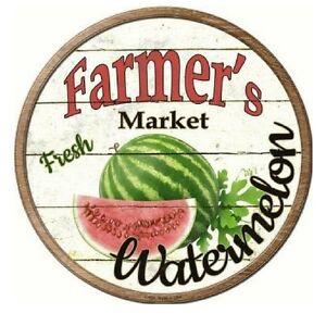 Farmers Market Watermelon Novelty Metal Circular Sign 12