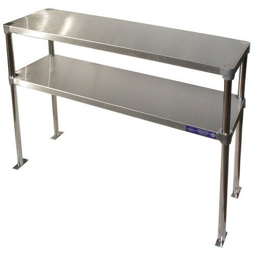 """Stainless Steel Adjustable Double Over-Shelf 12"""" Wide Size 48"""""""