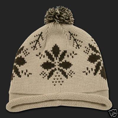 6c52729b8b7ac Tan Beige Snowflake Roll Up Pom Beanie Cap Winter Hat Winter Stocking Cap