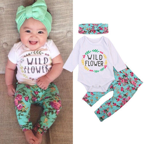 US Newborn Infant Baby Girls Floral Clothes Long Sleeve Romper Pants 3pcs Set