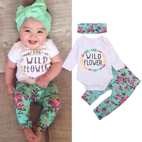 US Newborn Infant Baby Girls Floral Clothes Long Sleeve Romper Pants 3pcs Set