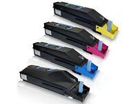 Non OEM Full Set Kyocera TK8305 printer toner cartridges, Magenta, Cyan, Black, Yellow