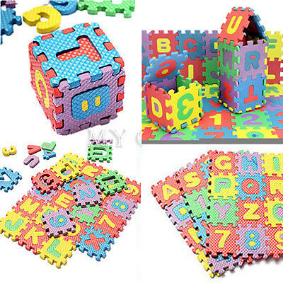 36x Puzzle Baby Kids Toy Alphabet A-Z Letters Numeral Foam Mat Jigsaw Play Mats
