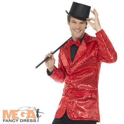 Red Sequin Jacket Mens Fancy Dress Cabaret Carnival Circus Coat Adults Costume