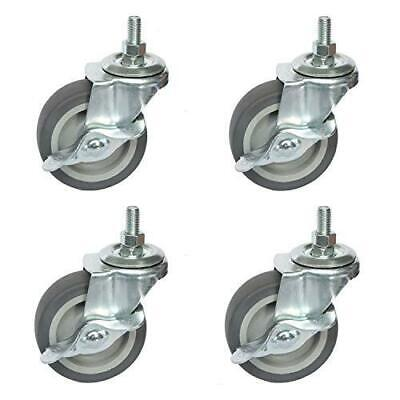 Ouyi Caster Wheels 3 Rubber Wheels Heavy Duty 12 -13 X 1 Threaded Stem 4